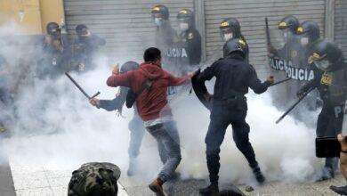 Represión a manifestantes en Lima