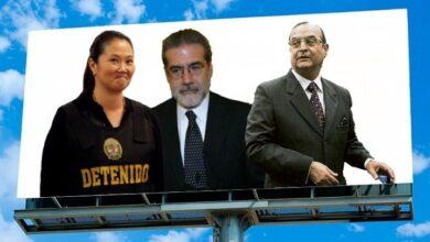 Keiko Fujimori, Campodonico y Vladimiro Montesinos. Composición Diario Perú