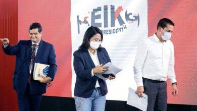 Keiko Fujimori denunciando fraude