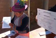 Presentó certificado de la ONPE por ejercer como miembro de mesa. Foto.captura video Radio Galaxia Moquegua